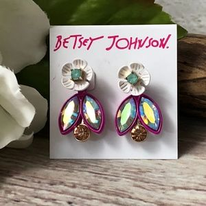 Betsey Johnson Flower Stone Cluster Earrings